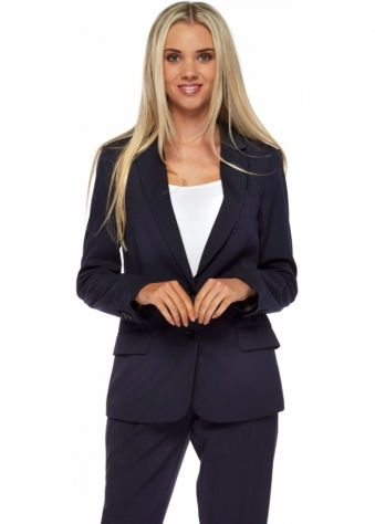 Navy Blue Tailored Tuxedo Blazer With Satin Contrast Collar