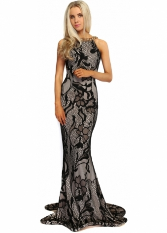 Black & Nude Lace Overlay Gold Beaded High Neckline Evening Dress