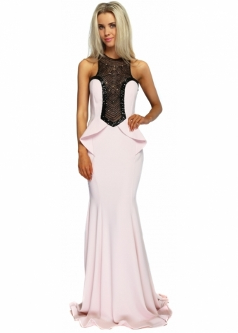 Blush Pink Black Diamonte Mesh Peplum Evening Dress