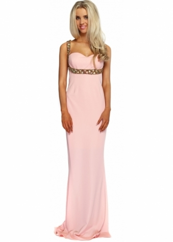 Candy Pink Sweetheart Gold Adorned Neckline Long Evening Dress