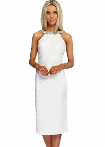 Pia Michi White Scoop Back Silver Diamonte Cocktail Dress