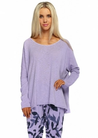 A Postcard From Brighton Rachel Violet Mist Slub Knit Slouch Top