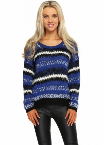 Long Sleeve Blue Knitted Stripe Jumper