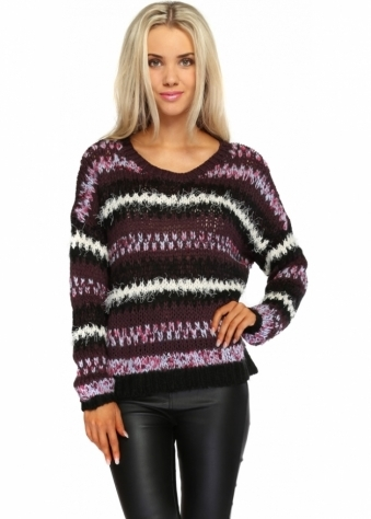 Long Sleeve Plum Knitted Stripe Jumper