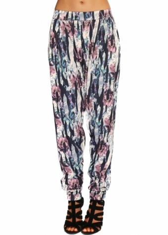 A Postcard From Brighton Jagged Flower Peach Puff Chillings Harem Pants