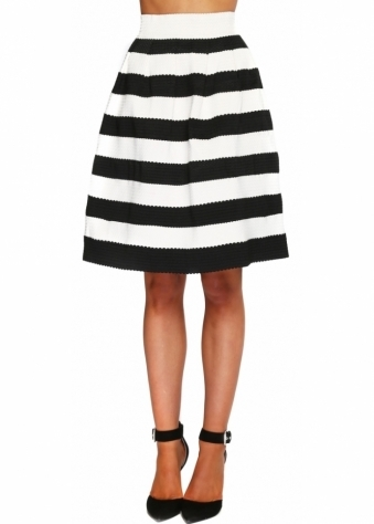 Brigitte Bardot Black & Cream Stripe Bandage Skirt