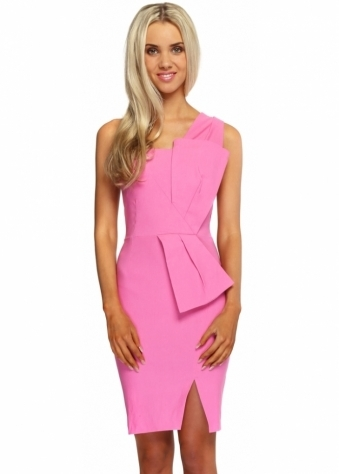 Vesper Hot Pink Sculpted Bow Hallie Dress