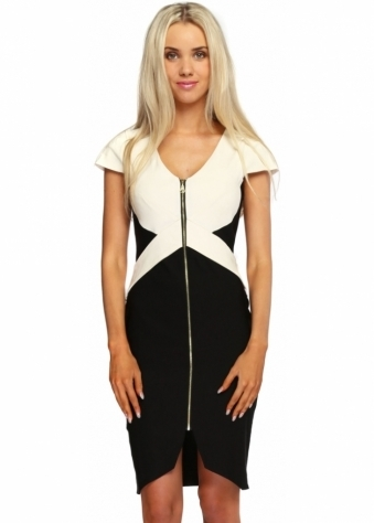 Monochrome Panel Sky Pencil Dress