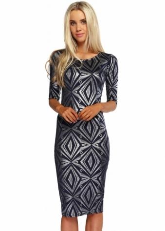 Designer Desirables Navy Blue Silver Foil Diamonds Sleeved Midi Dress