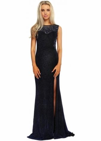 Navy Blue Lurex Evening Dress With Beaded Mesh Bodice
