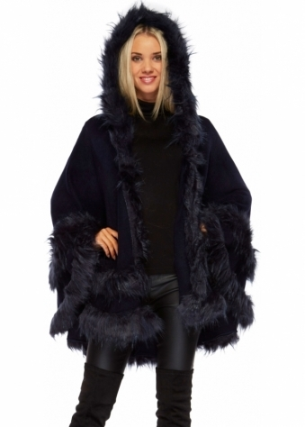 Urban Mist Double Layered Hooded Faux Fur Navy Poncho