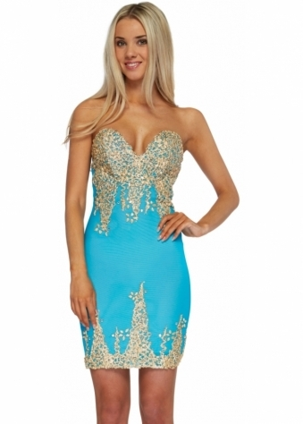 Holt Nika Turquoise Gold Hand Painted Bustier Bodycon Dress