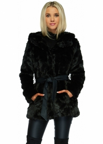 Designer Desirables Black Textured Full Faux Fur Hooded Coat