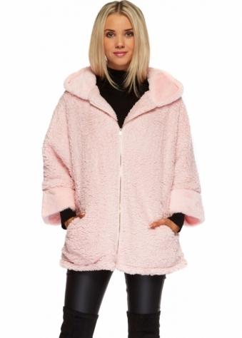 Designer Desirables Baby Pink Fluffy Faux Fur Fleece Hooded Jacket