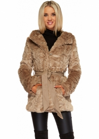 Designer Desirables Taupe Textured Full Faux Fur Hooded Coat