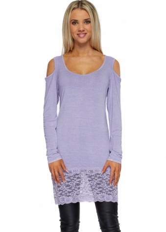 A Postcard From Brighton Lace Hem Flashie Top In Violet Mist