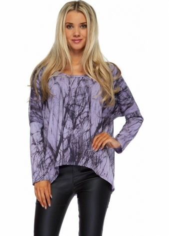 A Postcard From Brighton Tina Tanglewood Chiffon Back Karma Top In Violet Mist