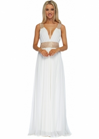 Pia Michi Ivory Gold Diamonte Cummerbund Grecian Maxi Dress