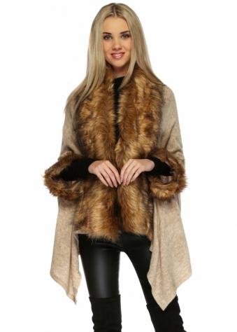 Designer Desirables Beige Fine Knit Asymmetric Poncho With Faux Fox Fur Trim