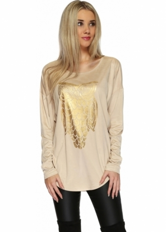 Designer Desirables Beige Suedette Top With Painted Golden Owl