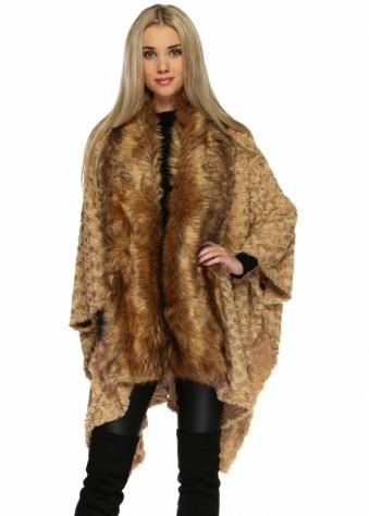 Designer Desirables Caramel Textured Faux Fur Asymmetric Cape With Collar