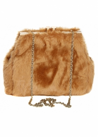Designer Desirables Caramel Soft Fluffy Faux Fur Tote Bag