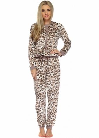 Designer Desirables Soft Taupe Satin Bow Leopard Print Onesie