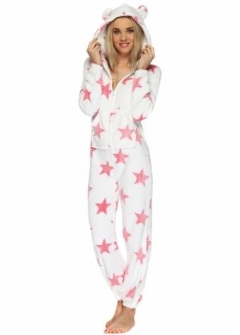 Designer Desirables White Soft Fluffy Textured Onesie With Coral Stars