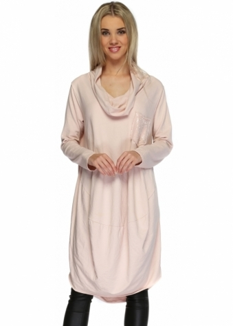 Sugar Babe Baby Pink Oversized Sequinned Pocket Slouchy Tunic