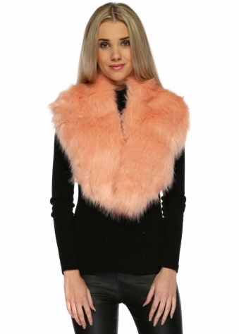 Urban Mist Oversized Thick Soft Fluffy Peach Puff Faux Fur Collar