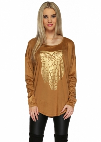Designer Desirables Tan Suedette Top With Gold Painted Owl