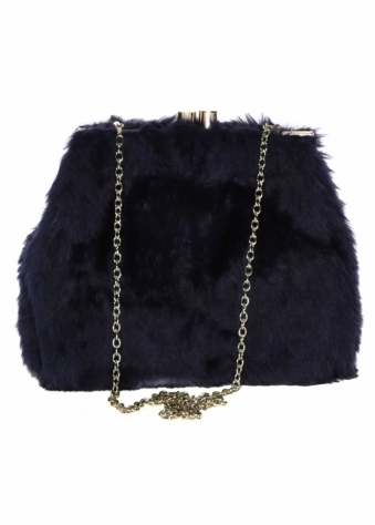 Soft Fluffy Navy Blue Faux Fur Tote Bag