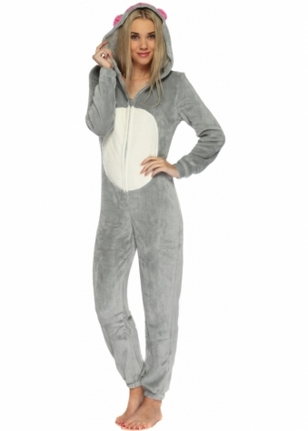 Designer Desirables Grey 3D Mouse Hooded Snuggly Onesie