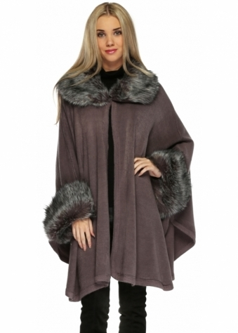 Urban Mist Grey Soft Faux Fur Knitted Swing Cape