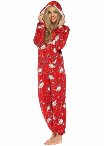 Designer Desirables Red Fleece Hooded Onesie With Hedgehog Forest Print