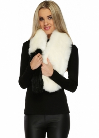Designer Desirables White Soft Faux Fur Black Tipped Long Scarf