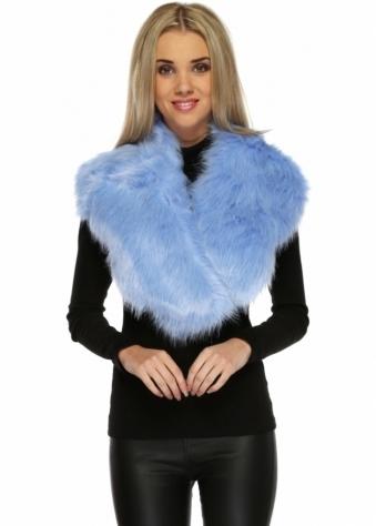Urban Mist Baby Blue Thick Soft Fluffy Faux Fur Collar