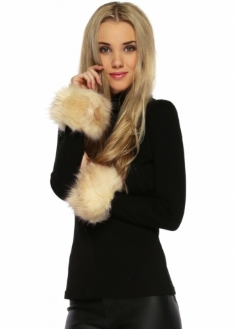 Urban Mist Beige Fluffy Faux Fur Cuffs