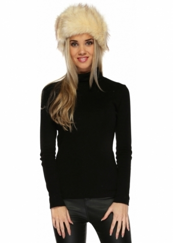 Urban Mist Beige Thick Faux Fur Cossack Hat