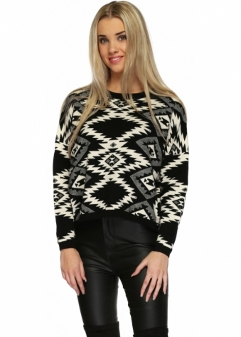 Black & White Patterned Soft Knit Cropped Jumper