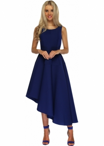 Goddess London Cobalt Blue Textured Asymmetric Midi Length Skater Dress