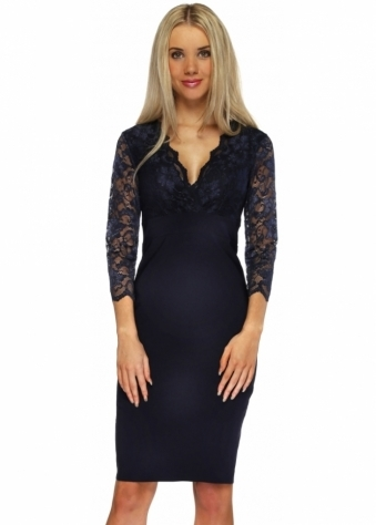 Goddess London Navy Lace 3/4 Sleeve Bengaline Pencil Dress