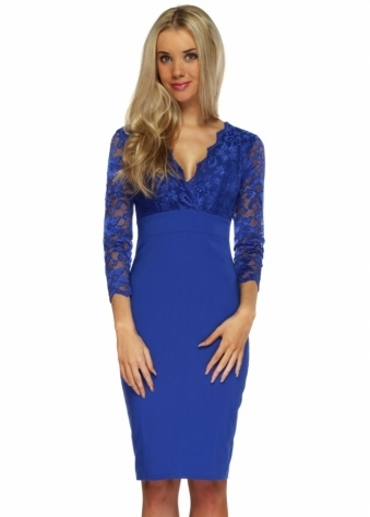 Goddess London Royal Blue Lace 3/4 Sleeve Bengaline Pencil Dress