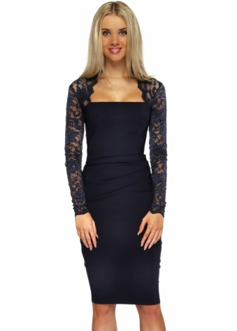 Goddess London Sequinned Lace Pleated Bodice Navy Blue Pencil Dress