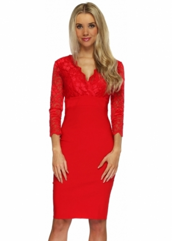 Goddess London Scarlet Red Lace 3/4 Sleeve Bengaline Pencil Dress