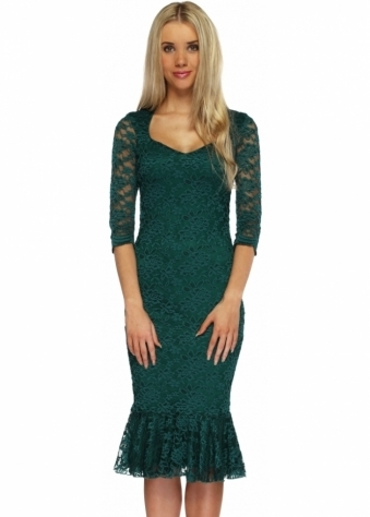 Goddess London Emerald Green Lace Ruffled Hem Midi Dress