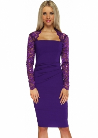 Goddess London Sequinned Lace Pleated Bodice Violet Pencil Dress