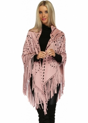 JayLey Gwenna Baby Pink Faux Suede Laser Cut Out Tassel Cape