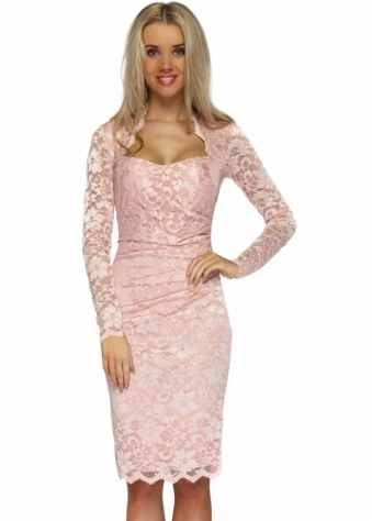 Goddess London Nude Pink Long Sleeved Scalloped Lace Pencil Dress