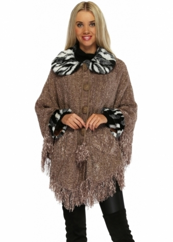 Mocha Button Up Poncho With Faux Fur Collar & Cuffs